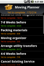 Moving Planner Android App