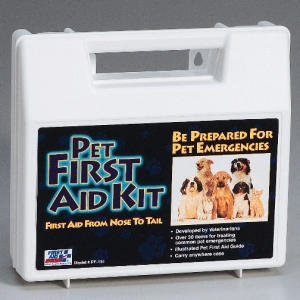 You never know when an emergency might happen so be prepared with a first aid kit for your pets.