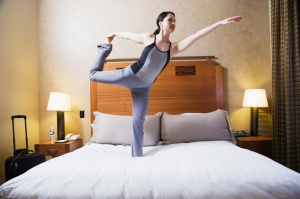 Be resourceful when traveling for business. No time to head to the gym? No problem, just use your hotel room instead.