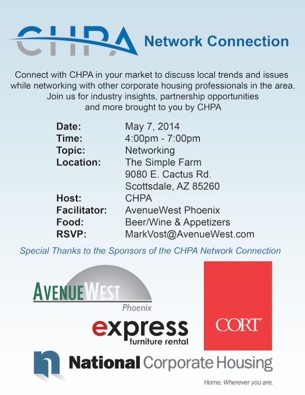If you are in the Phoenix Metro Area and are a Corporate Housing Provider or a vendor affiliated with the industry, then you do not want to miss out on this local networking event today, May 7th.